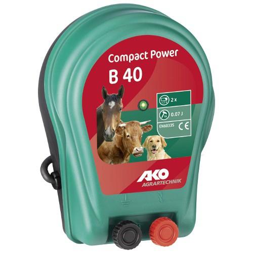 Ohradník bateriový COMPACT POWER B 40, určen pro koně, psy a malá zvířata
