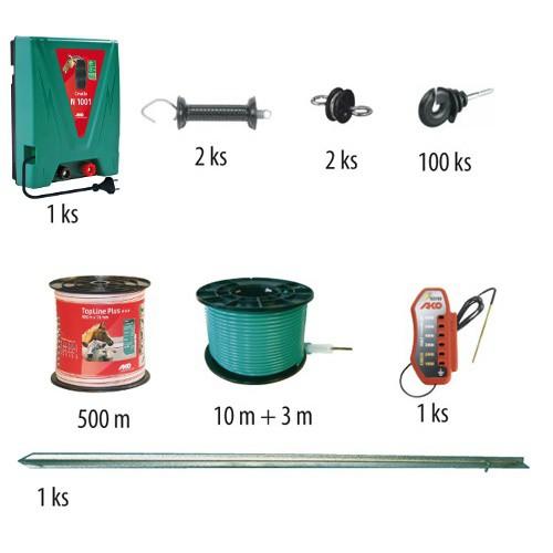 Startovací souprava s elektrickým ohradníkem CAVALLO N 1001, určen pro koně, psy a malá zvířata