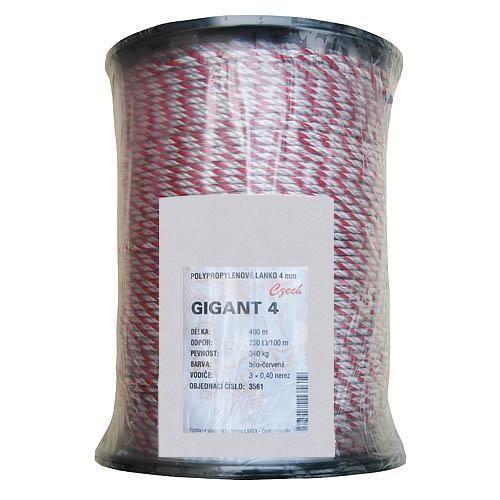 Lano pro elektrické ohradníky GIGANT, Ø 4mm, 400m