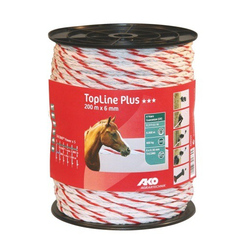 Lano pro elektrické ohradníky TopLine Plus, 6mm, 200m