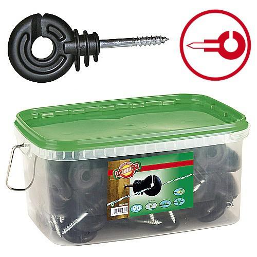 Izolátor pro elektrické ohradníky kruhový s vrutem 5mm, 350ks v kbelíku
