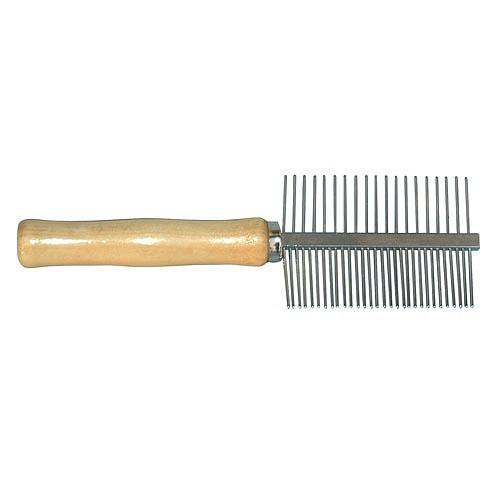 Hřeben oboustranný, dřevěná rukojeť