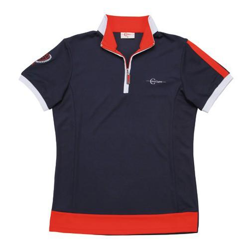 Dámské jezdecké triko KUBA se stojáčkem, modro-červené