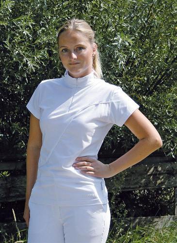 Dámské jezdecké závodní triko se stojáčkem, bílé