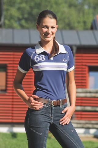 Dámské jezdecké triko s bílým límečkem, tmavě modro-bílé