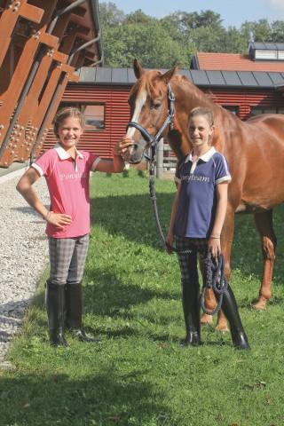 Dětské jezdecké triko s bílým límečkem, šedo-růžové, vel. 146/152