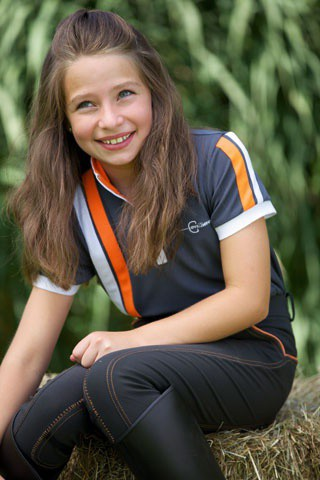 Dětské jezdecké triko se stojáčkem, šedo-oranžové, vel. 146/152