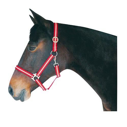 Ohlávka pro koně nylonová HIPPO, červeno-béžová