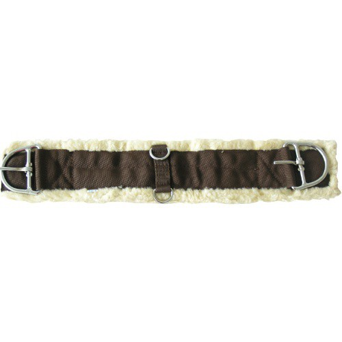 Podbřišník westernový nylon s umělým beránkem, hnědý