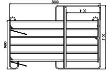 TEXAS branka pozink, 6 příček, v. 1,6 m, délka 3,0 m