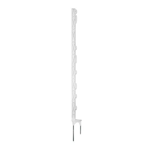 Tyčka pro elektrický ohradník, plast bílý, dvě špičky, 90cm, 8 úchytů
