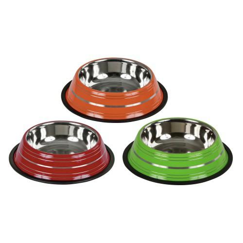Miska pro kočku a psy nerezová s gumovou hranou, barevná