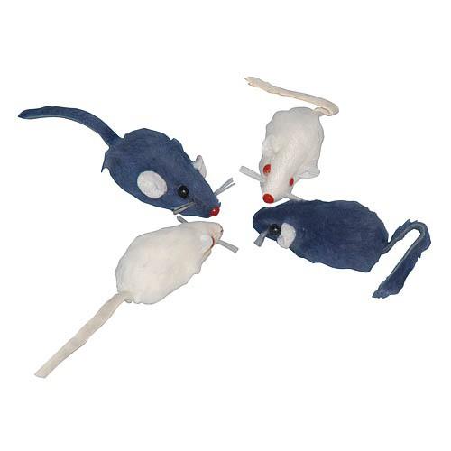 Hračka pro kočku chrastící plyšové myši 4ks