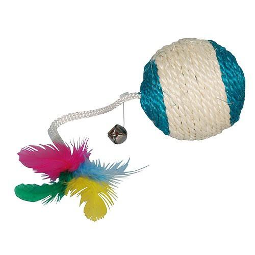 Hračka pro kočku chrastící balónek s peříčky