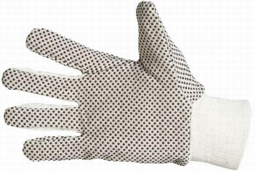 Pracovní rukavice OSPRAY, BA plátno, černé terčíky, vel. 10