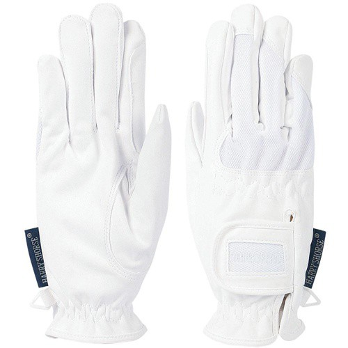 Jezdecké rukavice strečové syntetická kůže, bílé, slabé