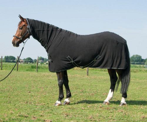 Odpocovací deka pro koně DELUXE, fleece, s krkem, černá