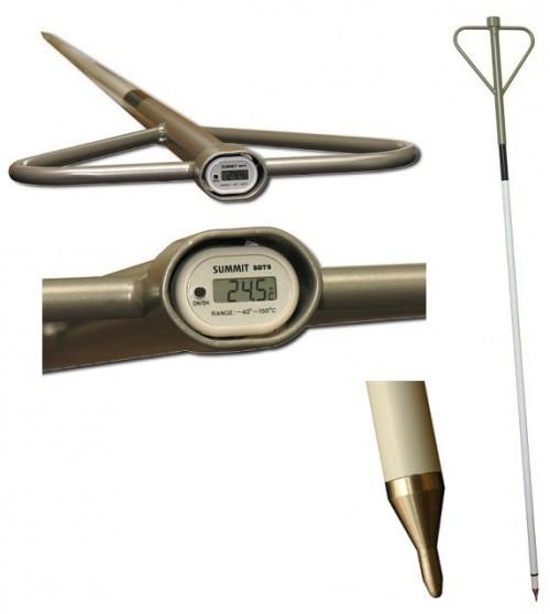 Dlouhý skládací digitální tyčový teploměr pro přímé měření teploty sena, slámy, drobného sypkého materiálu, obilí
