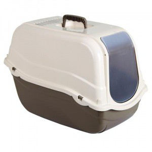 Toaleta krytá s dvířky, hnědá, 57x39x41 cm