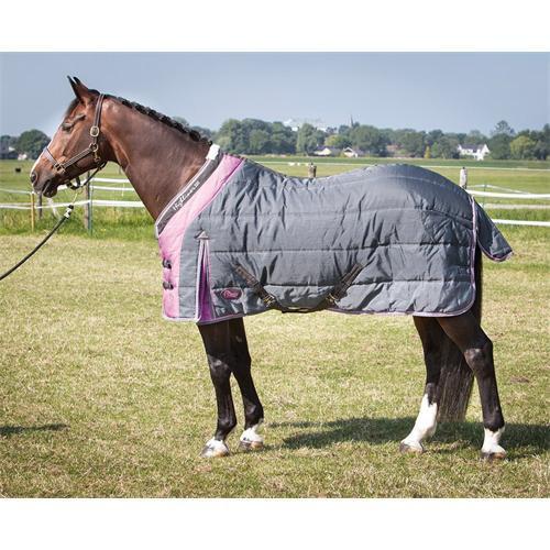 Stájová deka na koně 200gr., šedo- růžová
