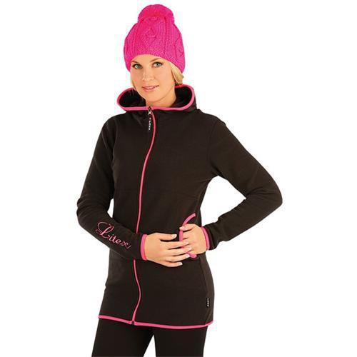 Bunda dámská s kapucí černo-růžová