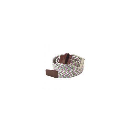 Pletený pásek, EUROSTAR, zeleno-růžovo-bílý, vel. L
