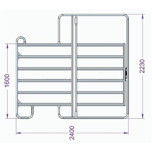 Panel ohradní EURO s dveřmi pozink, 6 příček, výška 1,6 m, délka 2,4 m, řetízek