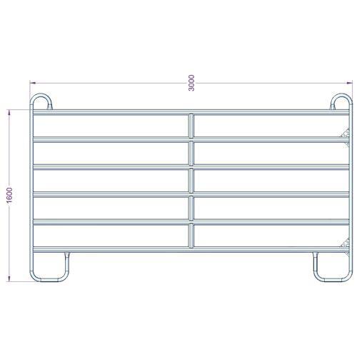 Panel ohradní EURO pozink, 6 příček, výška 1,6 m, řetízek, délka 3 m