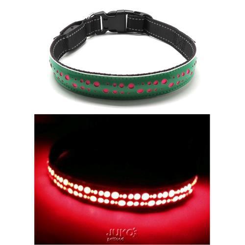 Obojek svítící LED, zelený