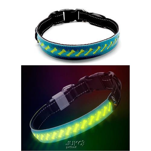 Obojek svítící LED, modrý