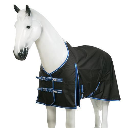 Nepromokavá deka Horze, 0 gr, černá s modrým lemem