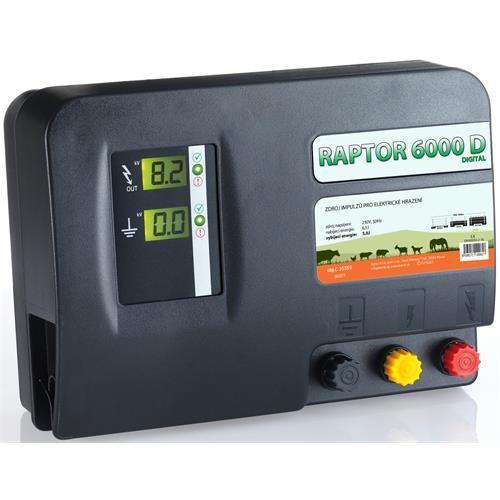 Zdroj pro elektrický ohradník RAPTOR 6000 D, síťový, 5 J