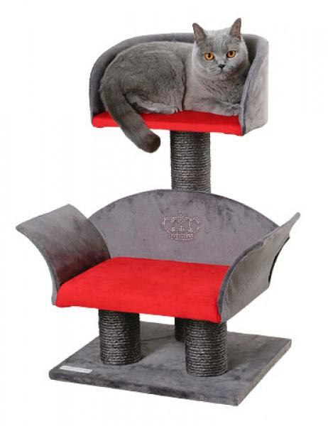 Škrábadlo a odpočívadlo pro kočky LOUNGE Deluxe, 70x42x37 cm, červené