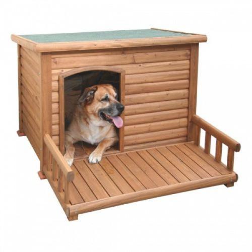 Bouda psí dřevěná s terasou, 113x81x83cm