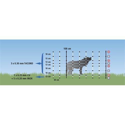 Síť WolfNet Vario pro elektrické ohradníky proti vlkům 50 m, 108 cm, dvojitá špička