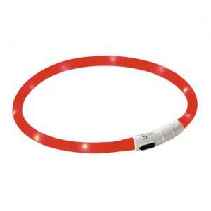 Obojek pro psa reflexní, svítící LED, červený, 55 cm