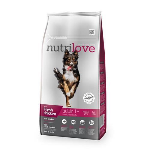 Granule pro psy Nutrilove, Adult M, 8 kg + 1,6 kg ZDARMA