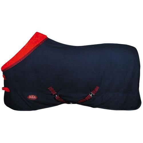 Odpocovací fleecová deka Harrys Horse Furby, s límcem, modro-červená