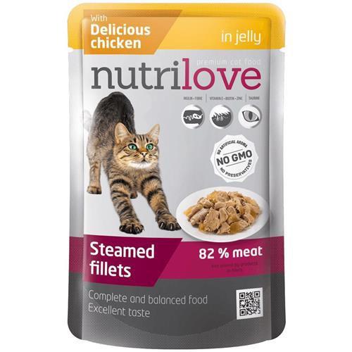 Kapsička pro kočky Nutrilove v želé, 85 g - kuřecí