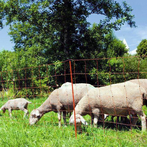 Síť pro elektrické ohradníky na ovce OVINET v. 108 cm, d. 50 m, dvojitá špička, oranžová